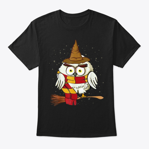Cute Owl Harry Magical Wizard Potter Black T-Shirt Front
