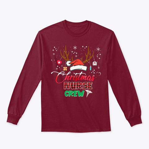 Christmas Nurse Crew Tee Reindeer Shirt Cardinal Red T-Shirt Front