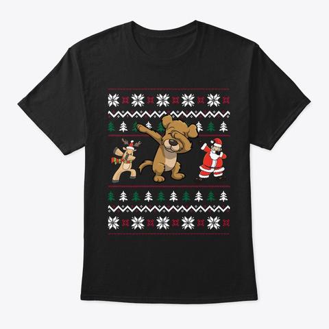 Funny Dabbing Dog Ugly Christmas Black T-Shirt Front