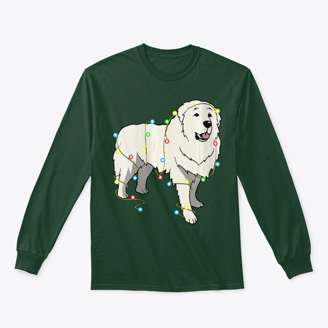Womens Xmas Lights Great Pyrenees Dog Forest Green T-Shirt Front