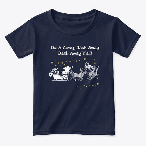 Texas Christmas Dash Away Y'all Navy  T-Shirt Front
