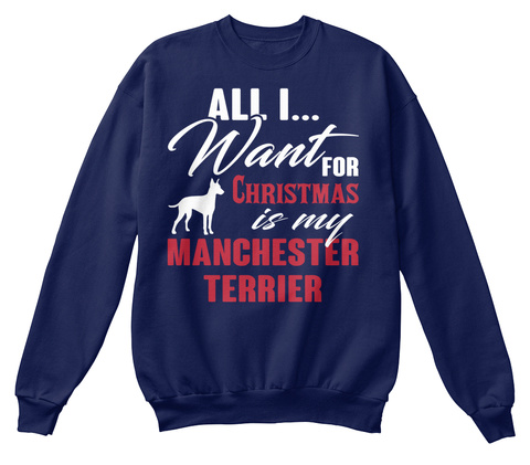 Manchester Terrier Ugly Christmas Sweate Navy  T-Shirt Front