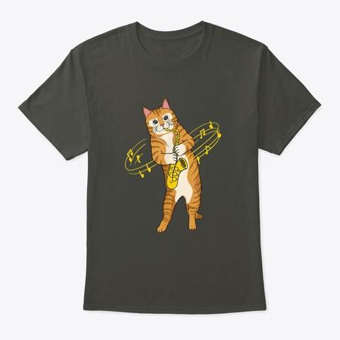 Cat Playing Saxophone Cat Musician Smoke Gray T-Shirt Front