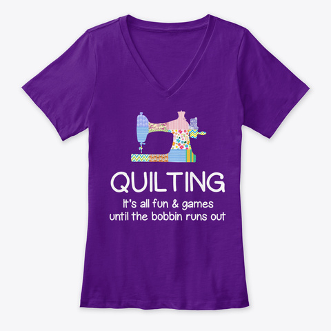 Quilting Shirt Quilter Tshirt Team Purple  T-Shirt Front