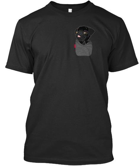 Black Pug Fu Pocket Black T-Shirt Front
