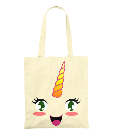 Sac Licorne   Unicorn Kawaii Natural Sac en Toile Front
