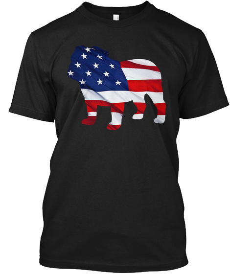 Patriotic Bulldog Black T-Shirt Front