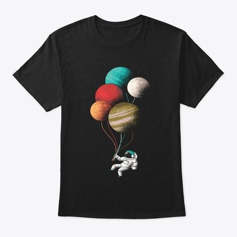 Science Planet Balloons Space Enthusiast Black T-Shirt Front