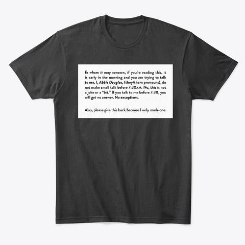 Abbie Douglas's Morning Card Black T-Shirt Front