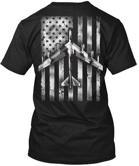 B 52 With Flag Black T-Shirt Back