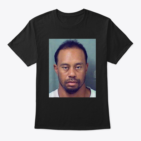 Tiger Golf Funny T Shirt Mugshot Black T-Shirt Front