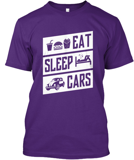 Eat Sleep Cars Purple T-Shirt Front
