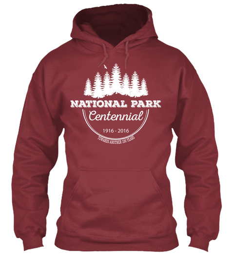 National Park Centennial 1916 2016 Maroon Camiseta Front