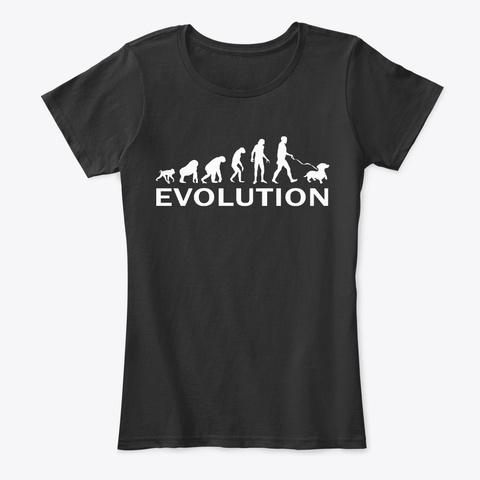 Funny Dachshund Lover Evolution Black T-Shirt Front