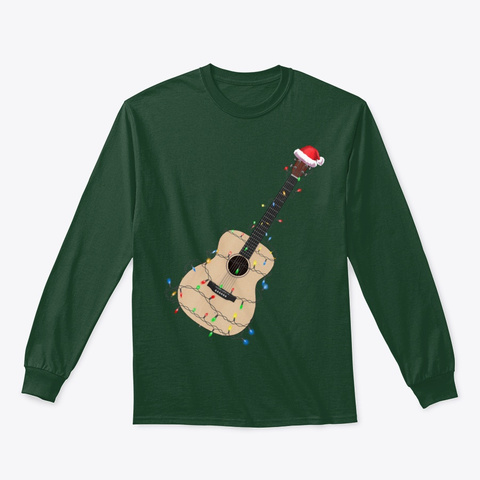 Christmas Guitar Player Xmas Musician Forest Green T-Shirt Front