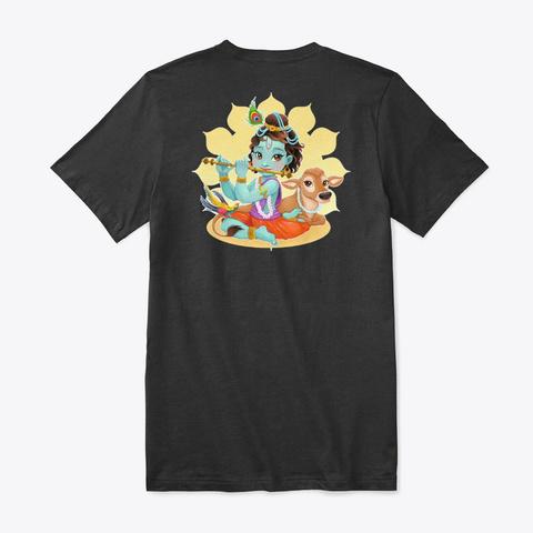 Om Sri Mantras Bala Krishna Sitting Black T-Shirt Back