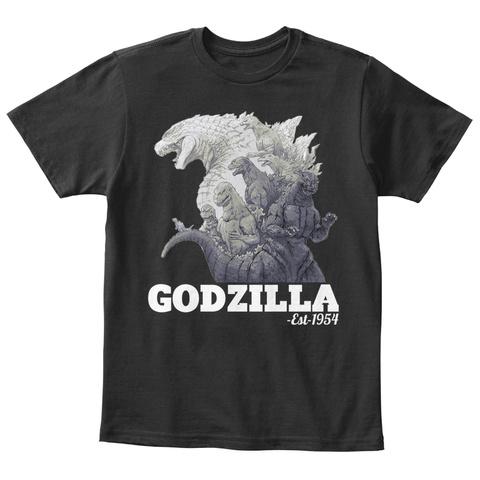 Godzilla  Est 1954 Black T-Shirt Front