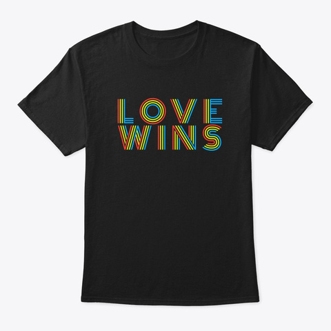 Love Wins Cute Gay Pride Lgbt Flag Gift Black T-Shirt Front
