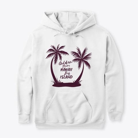 Hawaii Big Island Golden Palms White T-Shirt Front