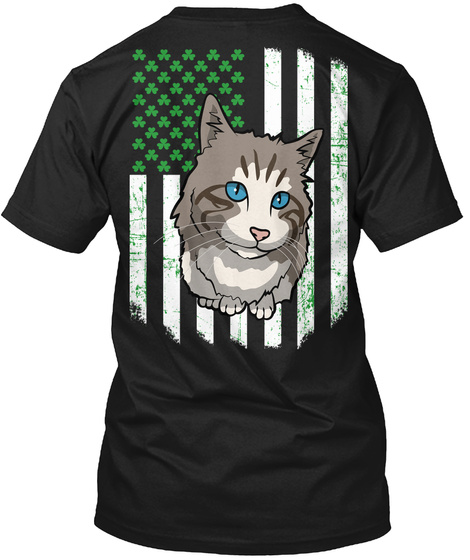 Saint Patricks Day Gift Ojos Azules Cat Black T-Shirt Back