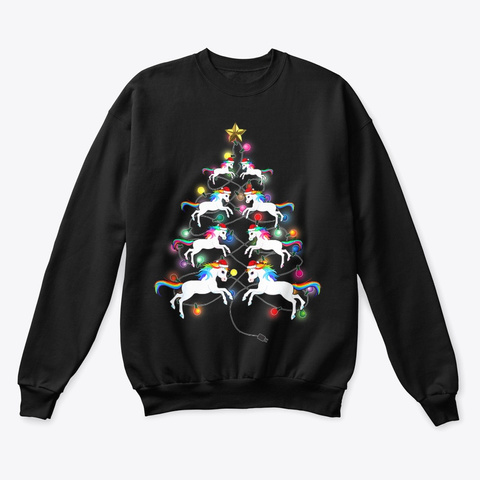 Santa Unicorns Christmas Tree Black T-Shirt Front