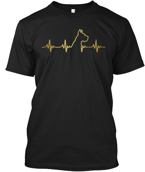 Golden Great Dane Heartbeat Black T-Shirt Front