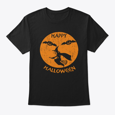 Happy Halloween Witch Black T-Shirt Front