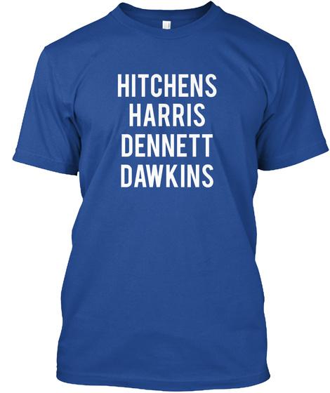 Hitchens Harris Dennett Dawkins Deep Royal T-Shirt Front