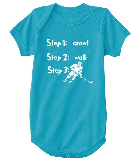 Step 1:Crawl Step 2 :Walk  Step 3: Play Golf Turquoise Kaos Front