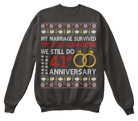 41st Anniversary Ugly Christmas Sweater Jet Black T-Shirt Front