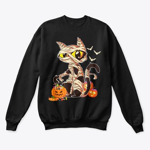 Black Cat Mummy Halloween Shirt Black T-Shirt Front