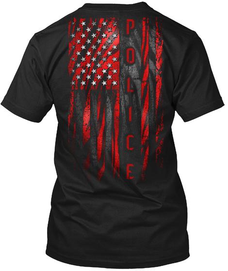 Police Red Tiger American Flag Black T-Shirt Back
