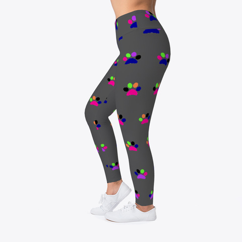 Colourful Pawprint Leggings Charcoal T-Shirt Left