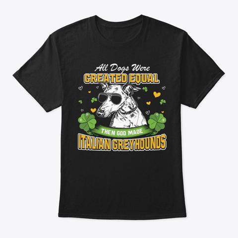 St Patricks Day Italian Greyhounds Black T-Shirt Front