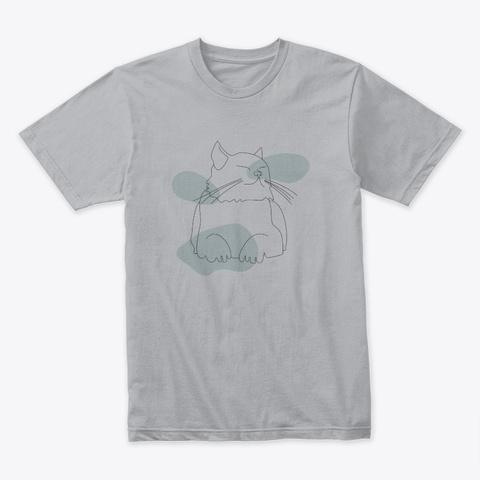 Cat Line Heather Grey T-Shirt Front