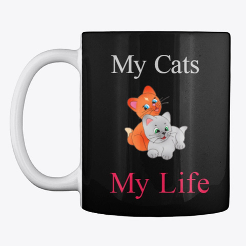 Cat Lovers Cup Black T-Shirt Front