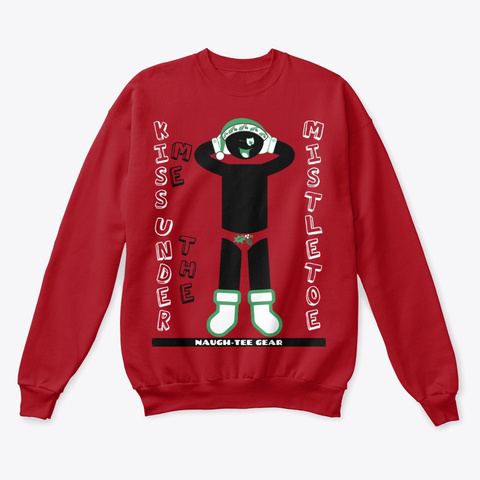 Mistletoe Kisses Male Sweat Shirt Red Deep Red  T-Shirt Front