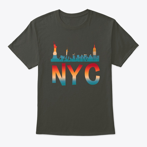 New York Vintage Skyline Ny Retro City Smoke Gray T-Shirt Front
