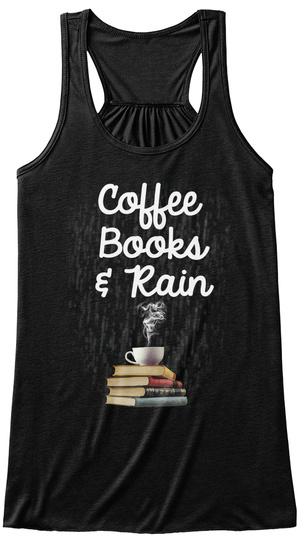 Coffee Books & Rain Black T-Shirt Front