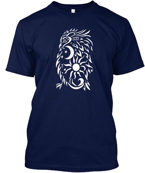 Celestrial Owl V Neck Navy T-Shirt Front