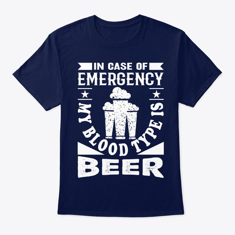 My Blood Type Is Beer  Navy T-Shirt Front