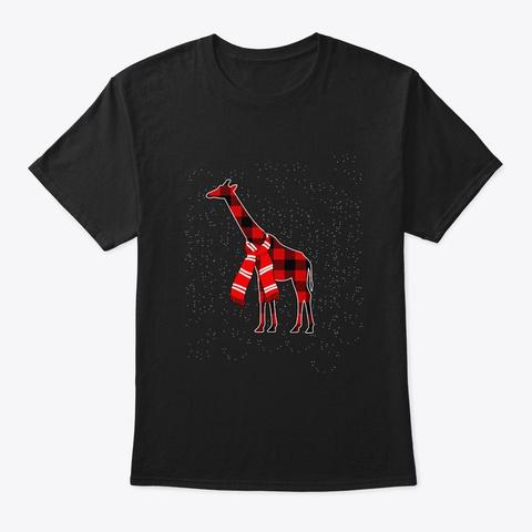 Merry Giraffe Christmas T Shirt Black T-Shirt Front