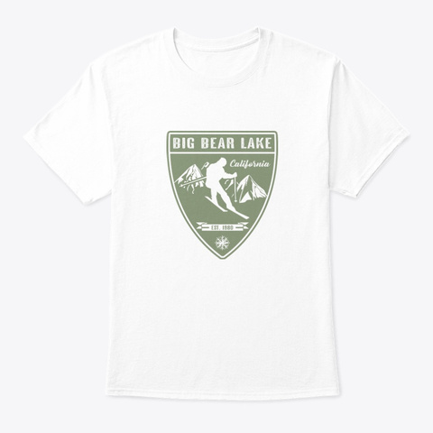 Ski Big Bear Lake California White T-Shirt Front