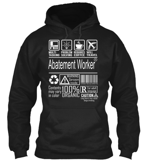 Abatement Worker   Multi Tasking Black T-Shirt Front