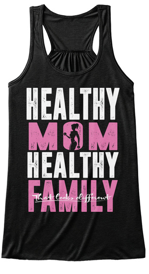 Healthy Mom Healthy Family Black T-Shirt Front