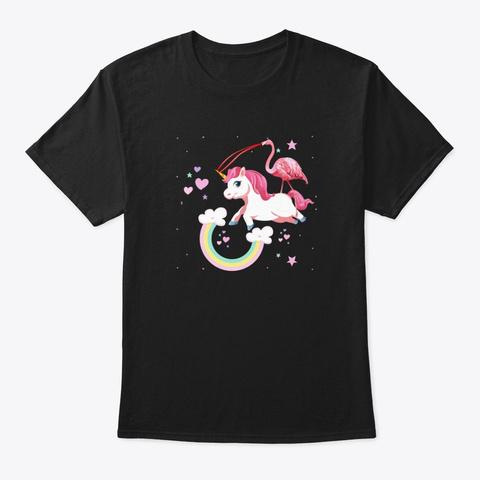 Unicorn Flamingo Rainbow Stars  Black T-Shirt Front