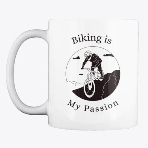 """""""Biking Passion"""" White T-Shirt Front"""