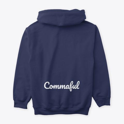 Commaful Dark Hoodies Navy T-Shirt Back