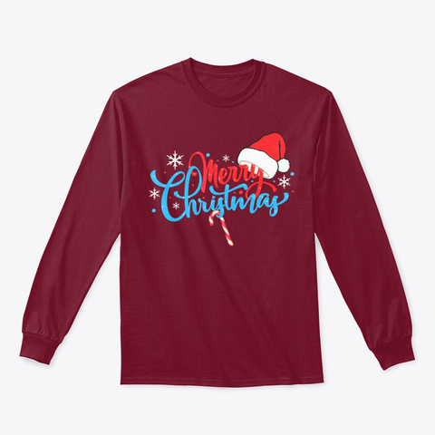 Merry Christmas Cute Santas Hat Candy  Cardinal Red T-Shirt Front