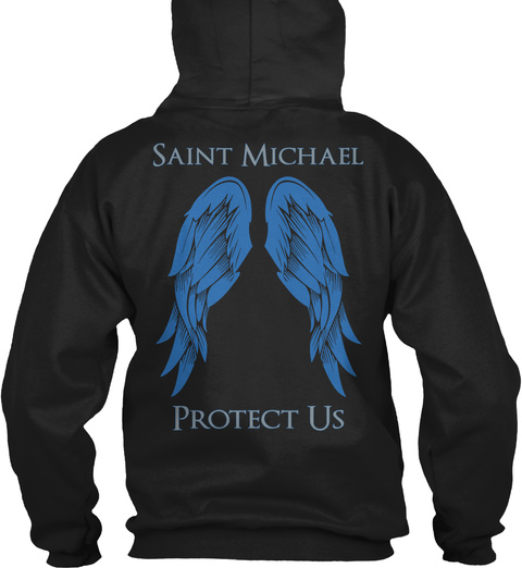 Saint Michael Protect Us Black T-Shirt Back